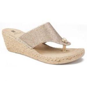 White Mountain Glitter Wedge Sandals